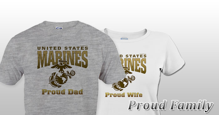 Embroidered Proud Marine Corps Dad Sweatshirt Patriotic