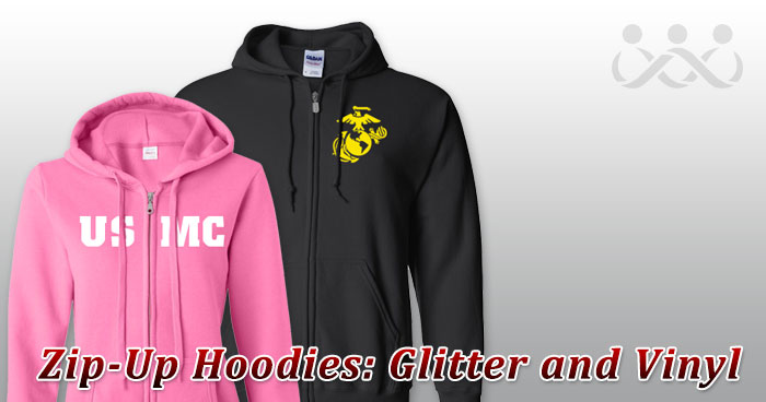 Zip-Up Hoodies: Glitter and Vinyl