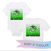 _T-Shirt/Onesie (Toddler/Baby): Marines Repeating -lime green
