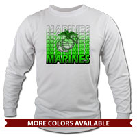 _Long Sleeve Shirt (Unisex): Marines Repeating -lime green