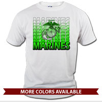 _T-Shirt (Unisex): Marines Repeating -lime green