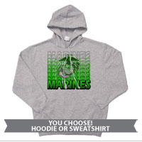 _Hoodie or Sweatshirt: Marines Repeating -lime green