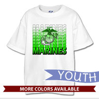 _T-Shirt (Youth): Marines Repeating -lime green
