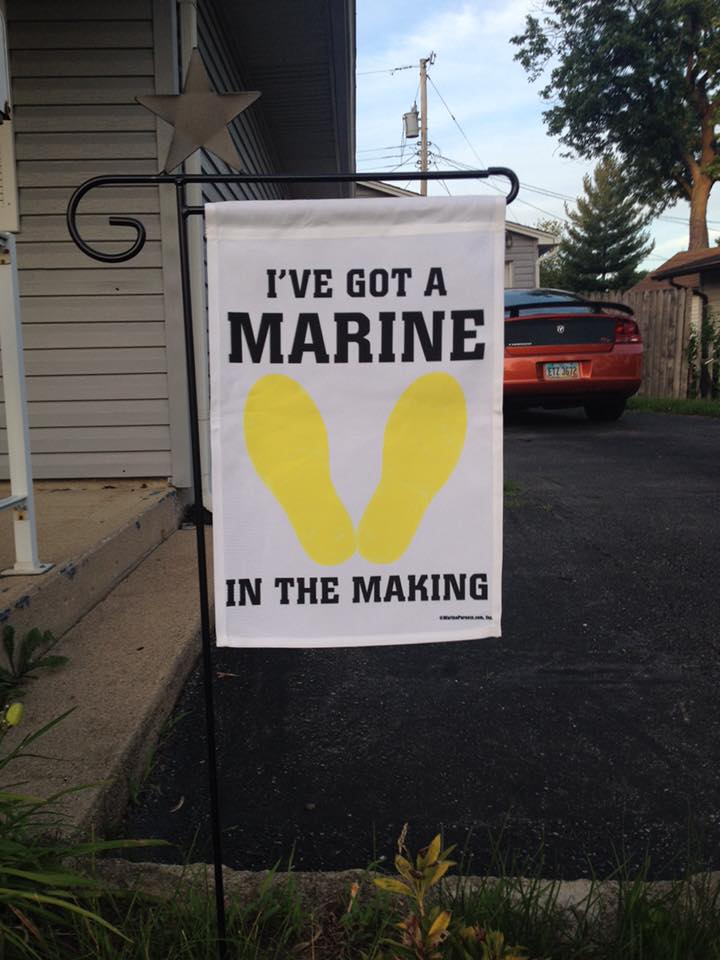 unique garden signs garden flag yellow footprints ive got a marine in the making