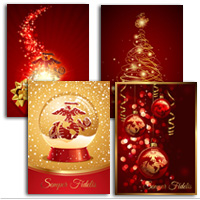 Christmas Cards: Red/Gold Variety EGA (Pkg of 12)