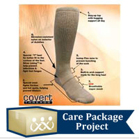 Care Package Project Content: Covert Threads Socks (Sand)