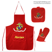 Apron and Oven Mitt Set Red, Marine Flag Likeness