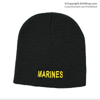 Knit Hat: Marines (embroidered on black)