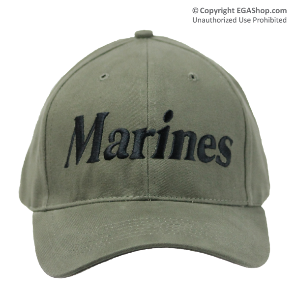 Cap: Marines (embroidered black on olive drab)