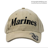 Cap: EGA and Marines (embroidered on khaki)