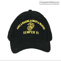 Cap: Once a Marine, Always a Marine (embroidery on black)