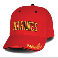Cap: Marines (raised embroidery yellow on red)