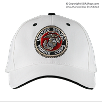 Cap: Marine Corps Seal (embroidered on white)