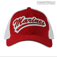 Cap: Marines (embroidered baseball-style on red/white)