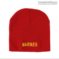Knit Hat: Marines (embroidered on red)