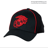 Cap: EGA (embroidered red on black)