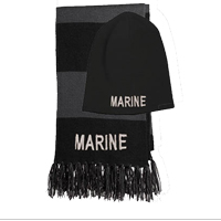 Knit Hat & Scarf: Black and Gray Knit Hat and Scarf