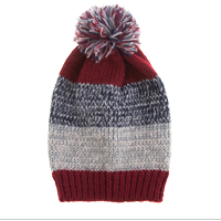 Knit Hat: Pom Pom Striped Burgundy/Gray