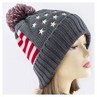 Knit Hat: Pom Pom Stars/Stripes