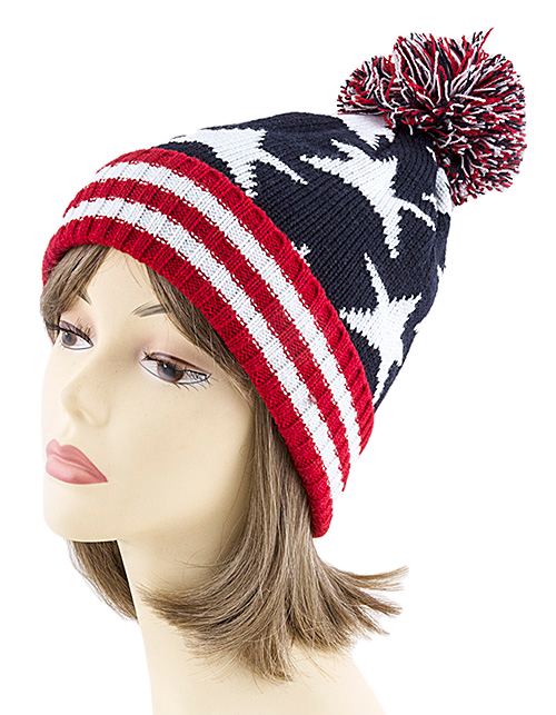 Knit Hat: Pom Pom Red, White, Blue