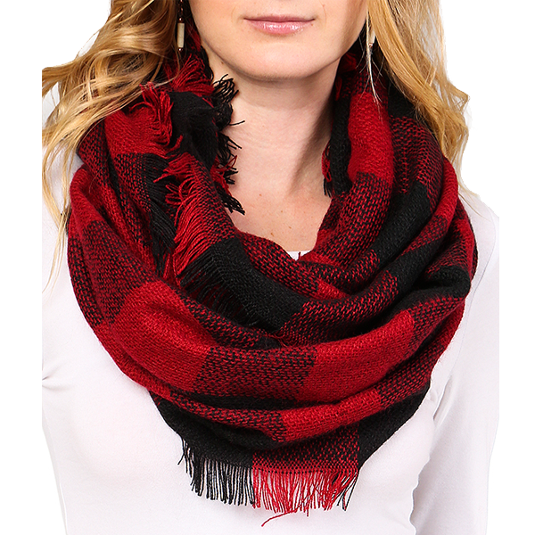 Scarf: Red Plaid Fringed Infinity Scarf