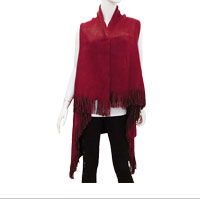 Poncho: Red Sleeveless Fringed Poncho