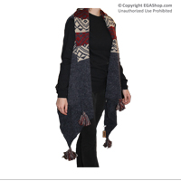 Poncho: Navy & Red Tassel Aztec Sleeveless Poncho
