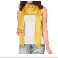 Scarf: Yellow Glittering Fringed Long Scarf
