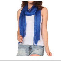 Scarf: Blue Glittering Fringed Long Scarf