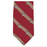Silk Tie: Stripe on Red w/ Eagle Globe and Anchor