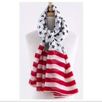 Scarf: Oversized Patriotic (white)