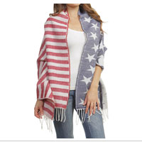 Scarf: Fringed Stars and Stripes
