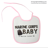 Baby Bib: A Marine Loves Me, in pink