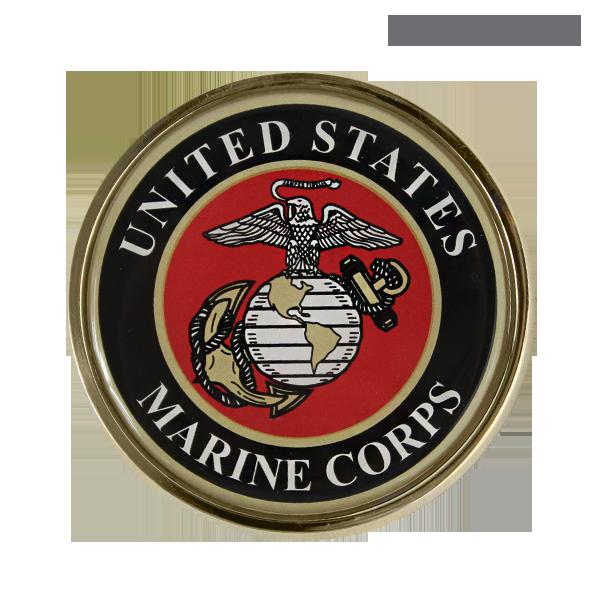 auto emblem marine corps seal gold