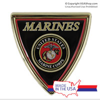 Auto Emblem: Shield-Shaped Marine Corps Seal, Gold