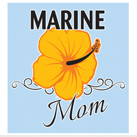 Decal, Marine Mom with Hibiscus