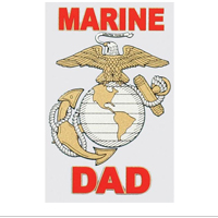 Decal, Marine Dad with Gold & Silver EGA