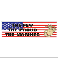 Decal: The Few The Proud The Marines with EGA on American Flag