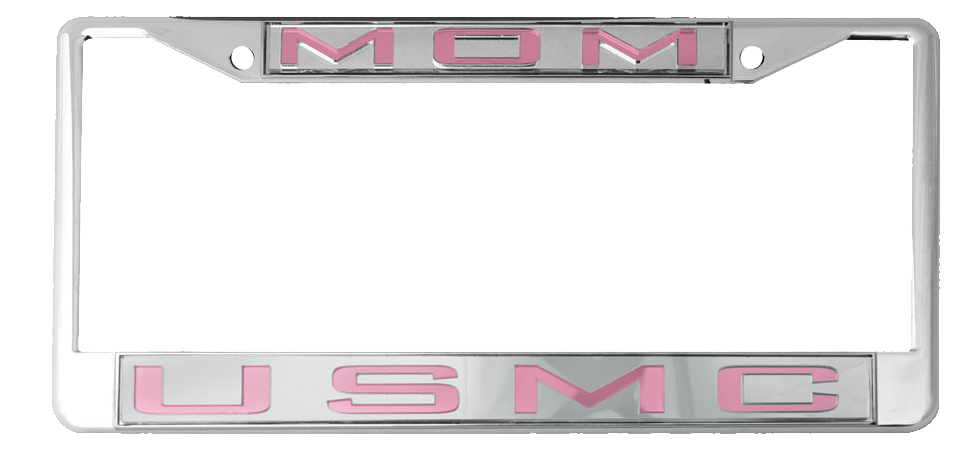 License Plate Frame: USMC Mom, Mirrored Inlaid Plastic License Plate ...
