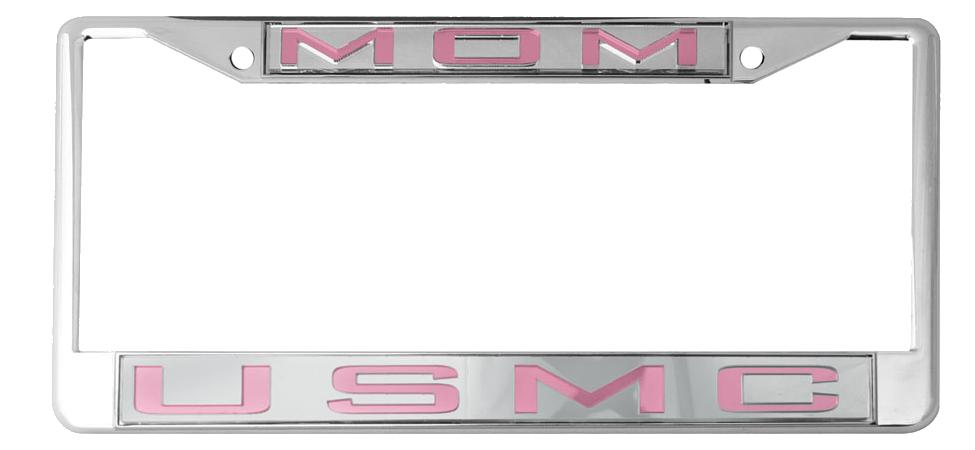 License Plate Frame: USMC Mom, Mirrored Inlaid Plastic License Plate ...
