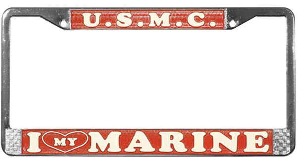 License Plate Frame: I (Heart) My Marine