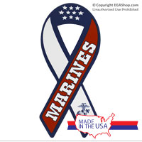 Ribbon Car Magnet: RWB Marines
