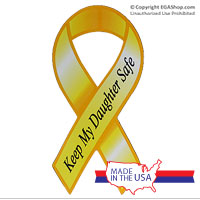 Ribbon Car Magnet, Keep My Daughter Safe