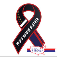 Ribbon Car Magnet: Dress Blue, Proud Brother