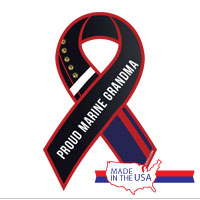 Ribbon Car Magnet: Dress Blue, Proud Grandma