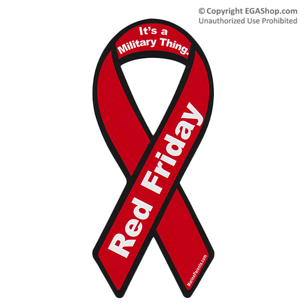 Ribbon Car Magnet: Red Friday Ribbon