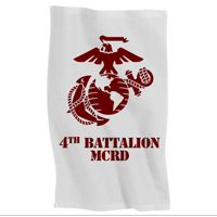 Rally Towel: 4th Recruit Btn (white w/ maroon print)