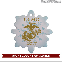 Ornament: USMC with EGA and Year (Porcelain)