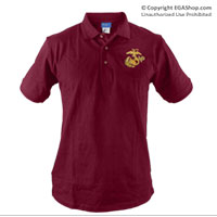 __Polo, Maroon w/ Embroidered EGA