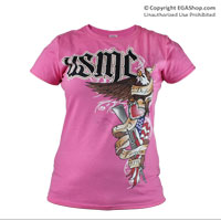 T-Shirt: USMC Tattoo on Pink (Ladies)